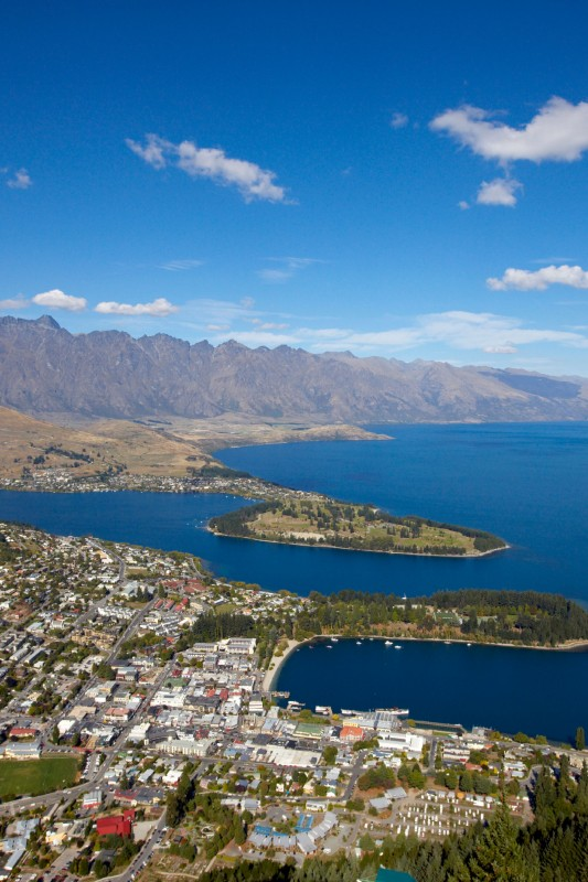 Queenstown summer aerial view of town crop