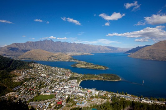 Queenstown summer aerial view of town web